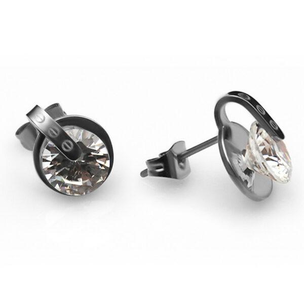 Серьги с белой позолотой и кристаллом циркона CZ-1155