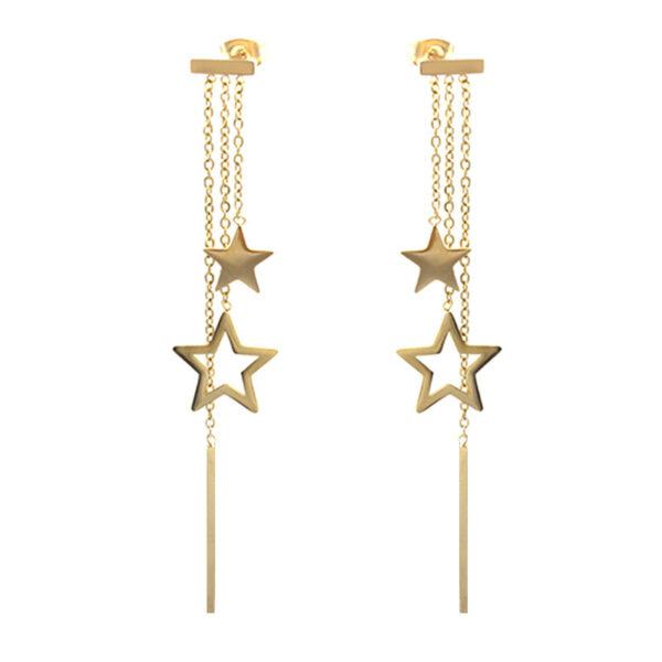 Длинные серьги звёзды с розовой позолотой  CZ-1160