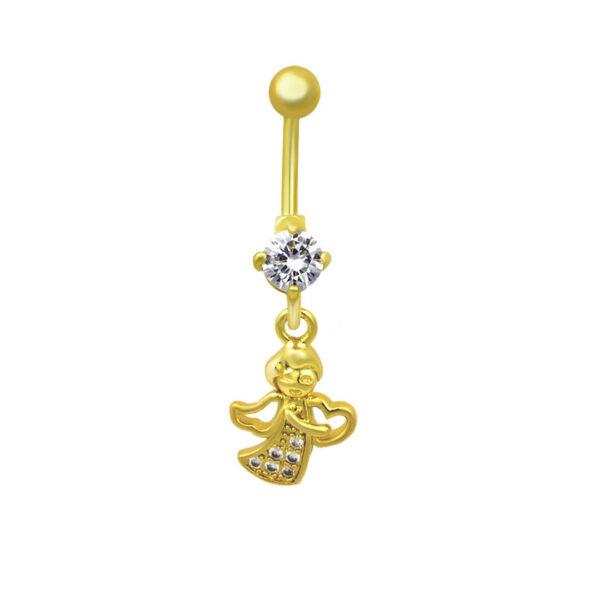 Пирсинг из медицинской стали с жёлтой позолотой и кристаллами циркона ПСО-0107