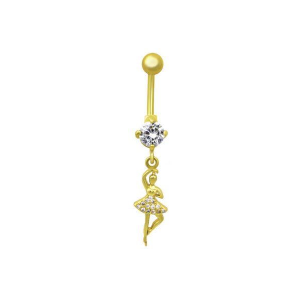 Пирсинг из медицинской стали с жёлтой позолотой и кристаллами циркона ПСО-0112