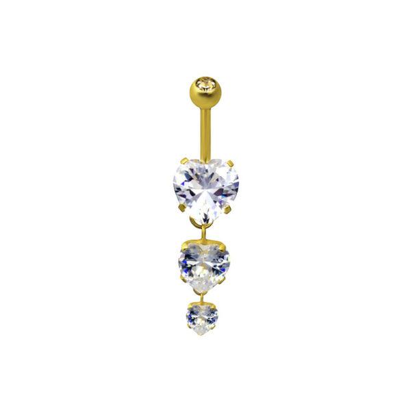 Пирсинг из медицинской стали с жёлтой позолотой и кристаллами циркона ПСО-0130
