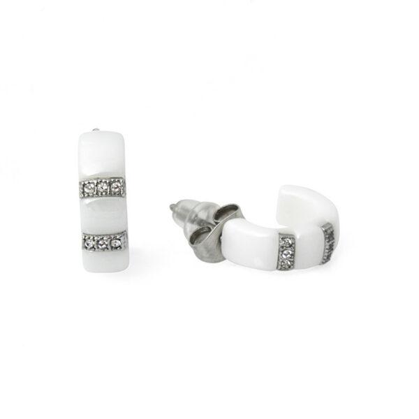 Серьги из белой керамики с кристаллами циркона СК-1351