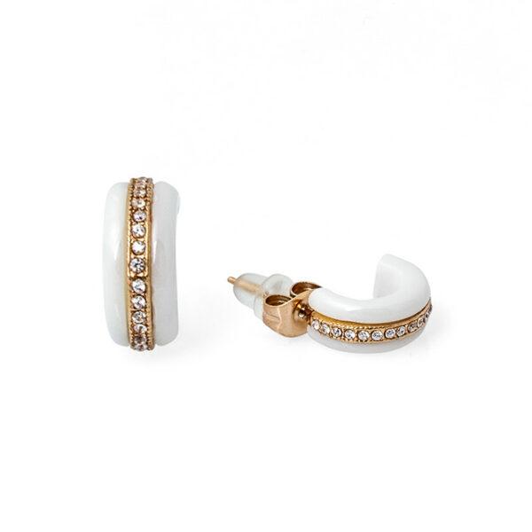 Серьги из белой керамики с кристаллами циркона СК-1353